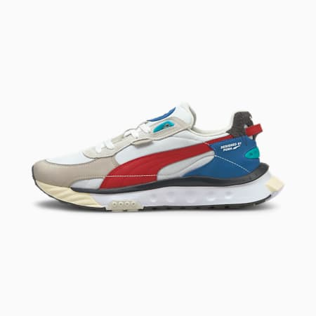 Wild Rider Layers Unisex Sneakers, Puma White-Urban Red, small-IND