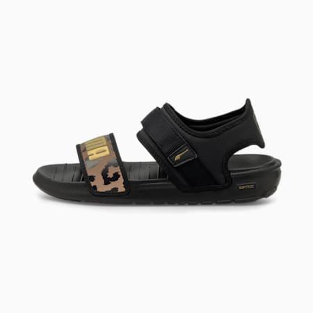 Softride Leo Women's Sandals, Puma Black-Brush-Gold, small-IND