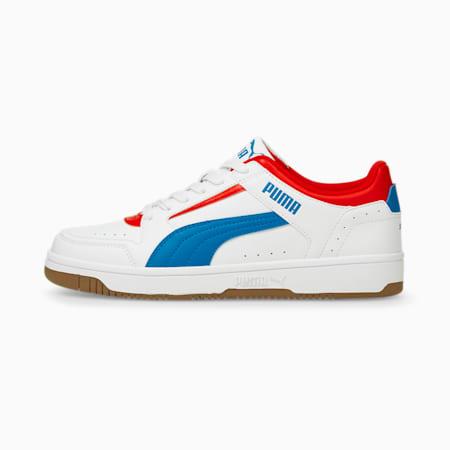 Zapatos deportivos de caña baja Rebound Joy, Puma White-Future Blue-High Risk Red-Gum, pequeño