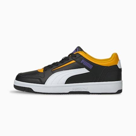Zapatos deportivos de caña baja Rebound Joy, Puma Black-Puma White-Saffron-Prism Violet, pequeño