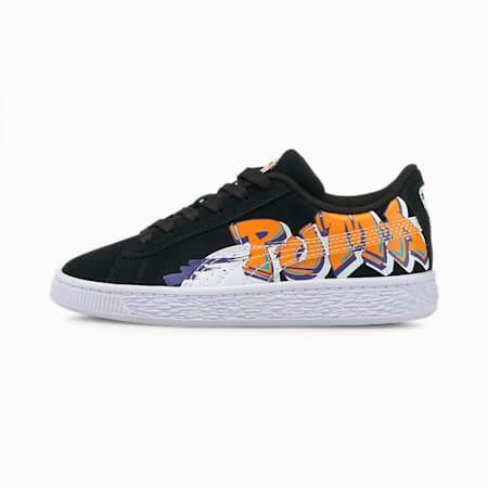 Zapatos deportivos Suede Street Art para niños pequeños, Puma Black-Vibrant Orange, pequeño