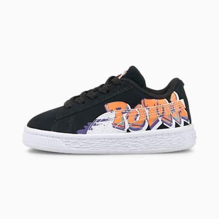 Zapatos deportivos Suede Street Art para bebé, Puma Black-Vibrant Orange, pequeño