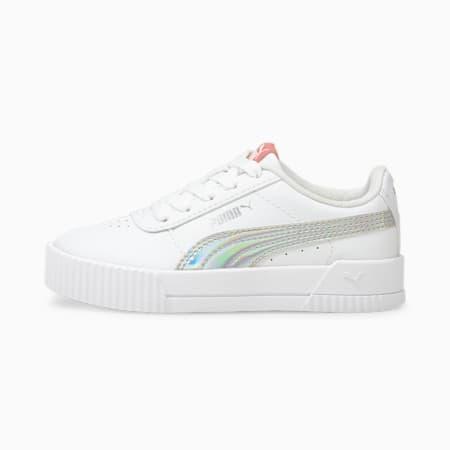 Zapatos deportivos Carina Rainbow para niño pequeño, Puma White-Puma Silver, pequeño