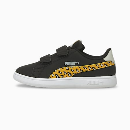 PUMA Smash v2 Roar Girl's Shoes, Puma Black-Mineral Yellow, small-IND