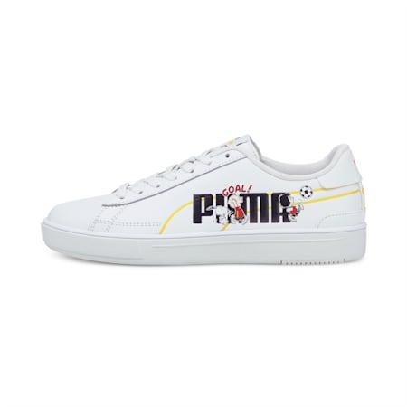 Zapatos deportivos PUMA x PEANUTS Serve Pro JR, Puma White-Puma Black, pequeño