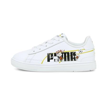 Zapatos deportivos PUMA x PEANUTS Serve Pro para niños pequeños, Puma White-Puma Black, pequeño