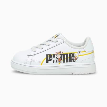 Zapatos deportivos PUMA x PEANUTS Serve Pro para bebé, Puma White-Puma Black, pequeño
