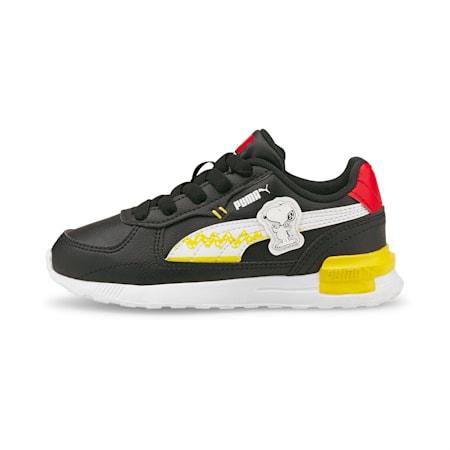 PUMA x PEANUTS Graviton Kid's Sneakers, Puma Black-Puma White, small-IND