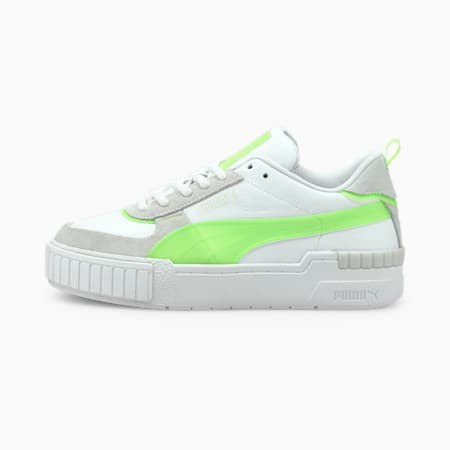 Zapatos deportivos Cali Sport Pop para mujer, Puma White-Green Glare-Vaporous Gray, pequeño