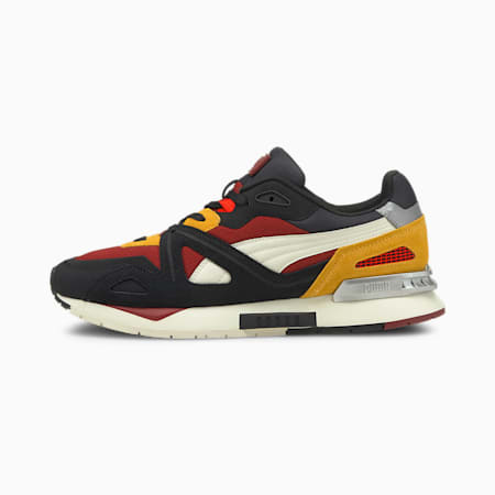 Mirage Mox Suede Trainers, Puma Black-Intense Red-Marshmallow, small-GBR