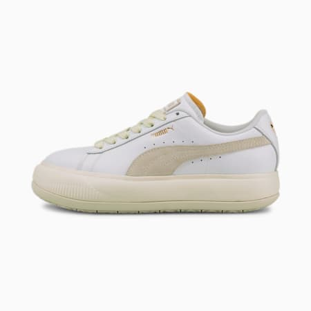 Suede Mayu Women's Leather Trainers, Puma White-Marshmallow, small-GBR
