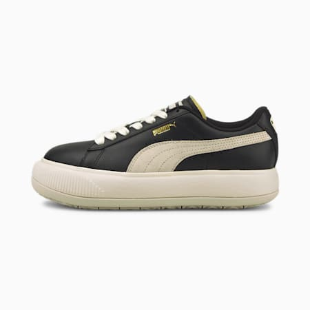 Suede Mayu Women's Leather Trainers, Puma Black-Marshmallow, small