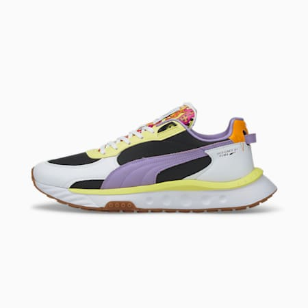 Zapatos deportivos Wild Rider Romero Britto, Puma White-Limelight, pequeño