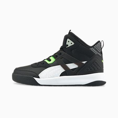 Zapatos deportivos de media caña Backcourt en la semana cibernética, Puma Black-Puma White-Green Glare, pequeño