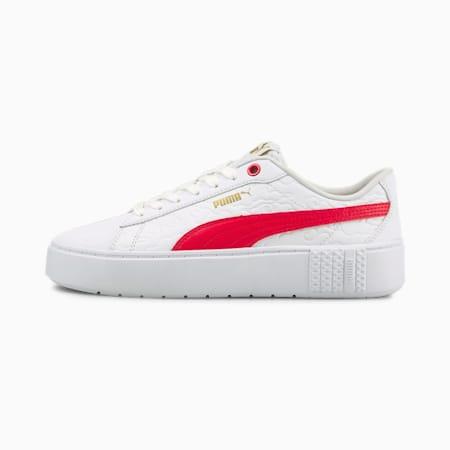 Smash  Platform V2 Celestial Women's Sneakers, Puma White-High Risk Red, small-IND