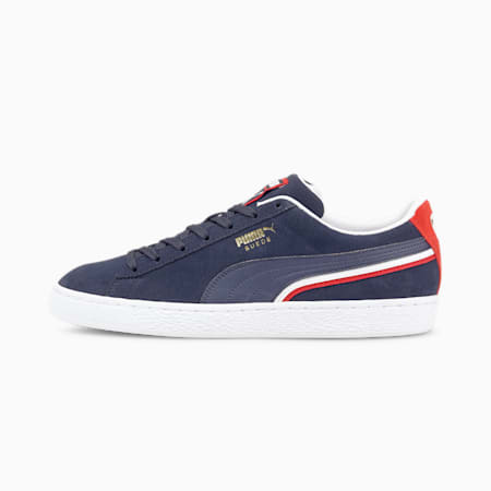 Suede Triplex Trainers, Peacoat-High Risk Red-P wht, small
