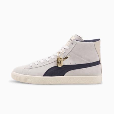 Zapatos deportivos Rudolf Dassler Legacy Suede Mid VTG Laundry para niño, Puma White- Navy-Eggnog, pequeño