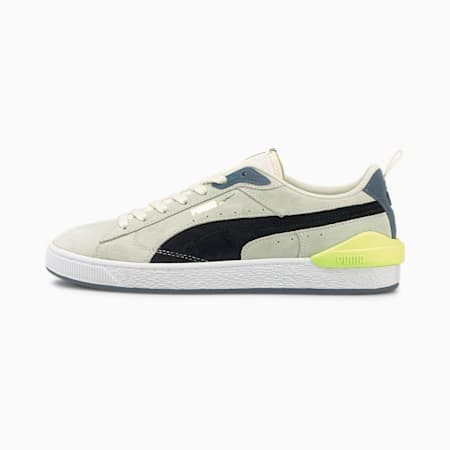 Suede Bloc Trainers, Ivory Glow-Puma Black, small
