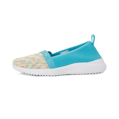 Adelina Ink Splash Women's Slip-On Shoes, Puma White-Scuba Blue-Orange, small-IND