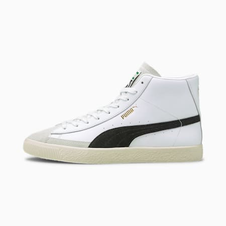 Basket Mid Vintage Trainers, White-Black-Team Gold, small-GBR