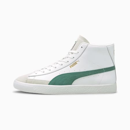 Basket Mid Vintage Trainers, White-Blue Spruce-Team Gold, small-GBR
