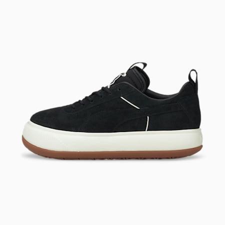 Zapatos deportivos PUMA x PUMA Suede Mayu para mujer, Puma Black-Whisper White, pequeño