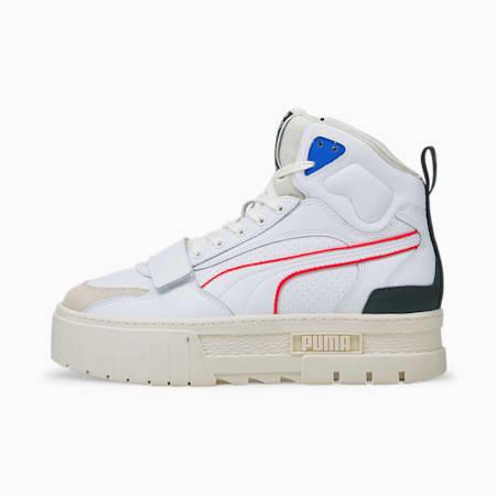 Zapatos deportivos de caña media PUMA x PUMA Mayze para mujer, Puma White-Whisper White, pequeño