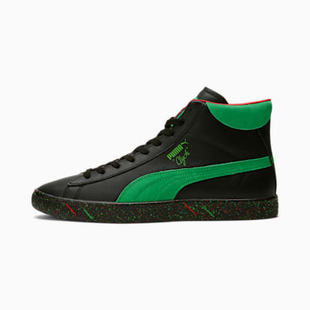 Clyde Mid Elf Sneakers, Puma Black-Bright Green, small