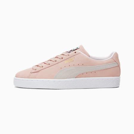 Zapatos deportivos de gamuza Classic XXI para mujer, Peachskin-Puma White, pequeño