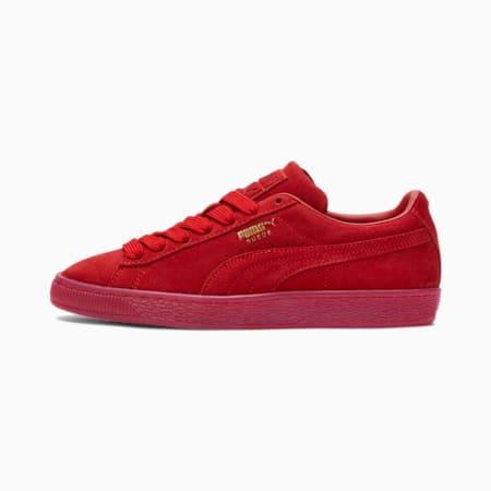 Zapatos deportivos Suede Classic Mono Gold para mujer, Barbados Cherry-Dorado, pequeño