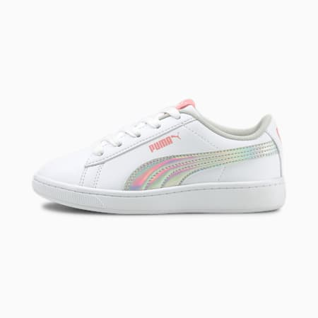 PUMA Vikky V2 Rainbow AC Girl's Sneakers, Puma White-Peony-Puma Silver, small-IND