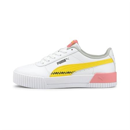 PUMA x PEANUTS Girl's Carina Sneakers, Puma White-Maize, small-IND