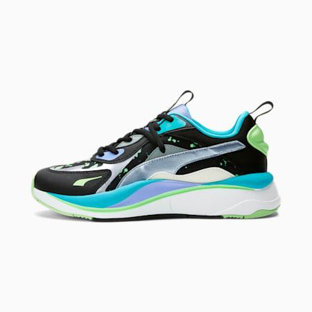 Zapatos deportivos RS-Curve GID para mujer, Black-Silver-Elektro Green, pequeño