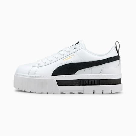 Mayze Lth sneaker dames, Puma White-Puma Black, small
