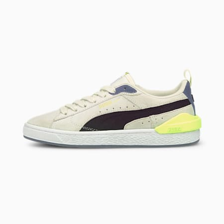 Suede Bloc Youth Trainers, Ivory Glow-Puma Black, small-GBR