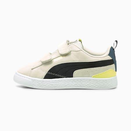 Suede Bloc Kinder Sneaker, Ivory Glow-Puma Black, small