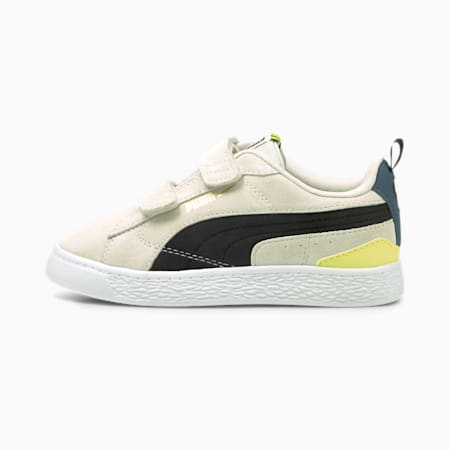 Suede Bloc sneakers kinderen, Ivory Glow-Puma Black, small