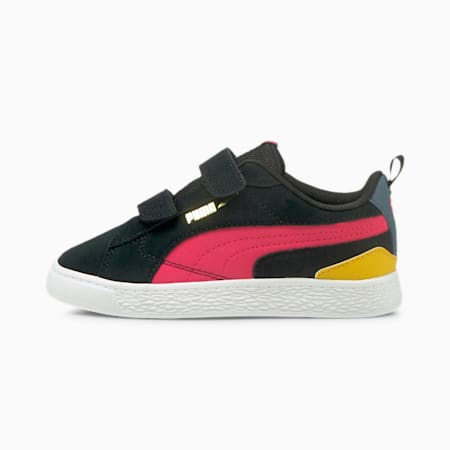 Suede Bloc Kids' Trainers, Puma Black-Paradise Pink, small