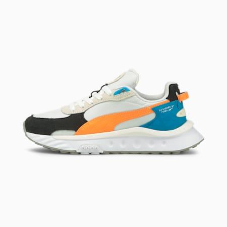 Wild Rider Rollin' Sneakers JR, Puma White-Orange Glow, small