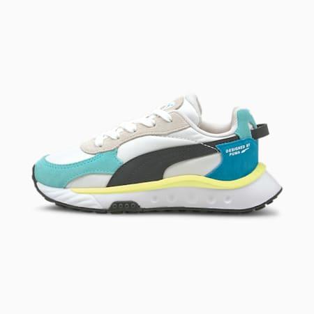 Zapatos Wild Rider Rollin' para niños pequeños, Elektro Aqua-Puma White, pequeño