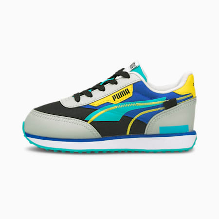 Future Rider Twofold Kid's Sneakers, Puma Black-Gray Violet-Future Blue, small-IND