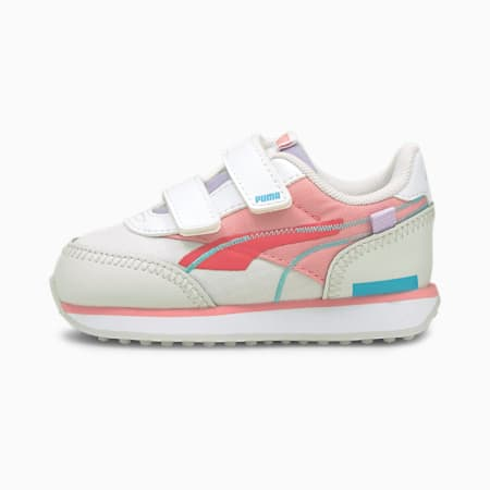 Future Rider Twofold Babies' Trainers, Puma White-Nimbus Cloud-Paradise Pink, small