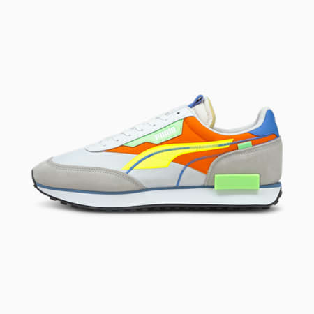 Future Rider Twofold Pop Sneaker, White-Yellow Alert-Carrot, small