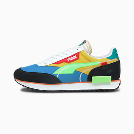 Future Rider Twofold Pop Trainers, Palace Blue-Ele Green-Maize, small-GBR
