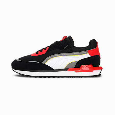 City Rider Unisex Sneakers, Puma Black-Puma White-High Risk Red, small-IND