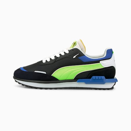 Zapatos deportivos City Rider Electric, Puma Black-Green Glare, pequeño