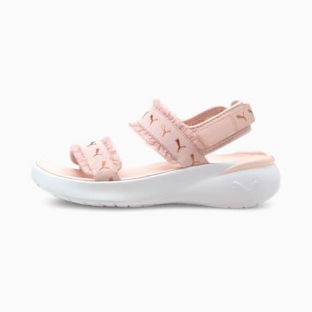 Sandalias deportivas Ruffle para mujer, Lotus-Puma Silver-Puma White, pequeño