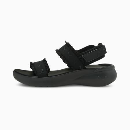 Sandalias deportivas Ruffle para mujer, Puma Black-Puma Black, pequeño