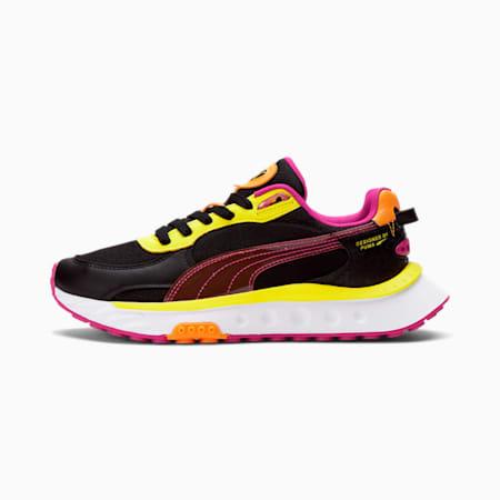 Zapatos deportivos City Lights Wild Rider para mujer, Puma Black-Beetroot Purple-Nrgy Yellow, pequeño
