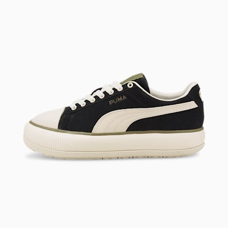 Suede Mayu Infuse Women's Trainers, Puma Black-Ivory Glow-Covert Green, small